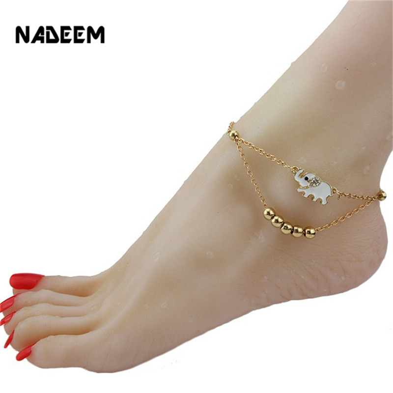 v hot jewelry sonao charm net color enamel for white bracelet women leg gifts foot chain ankle a sexy gold anklet girl elephant