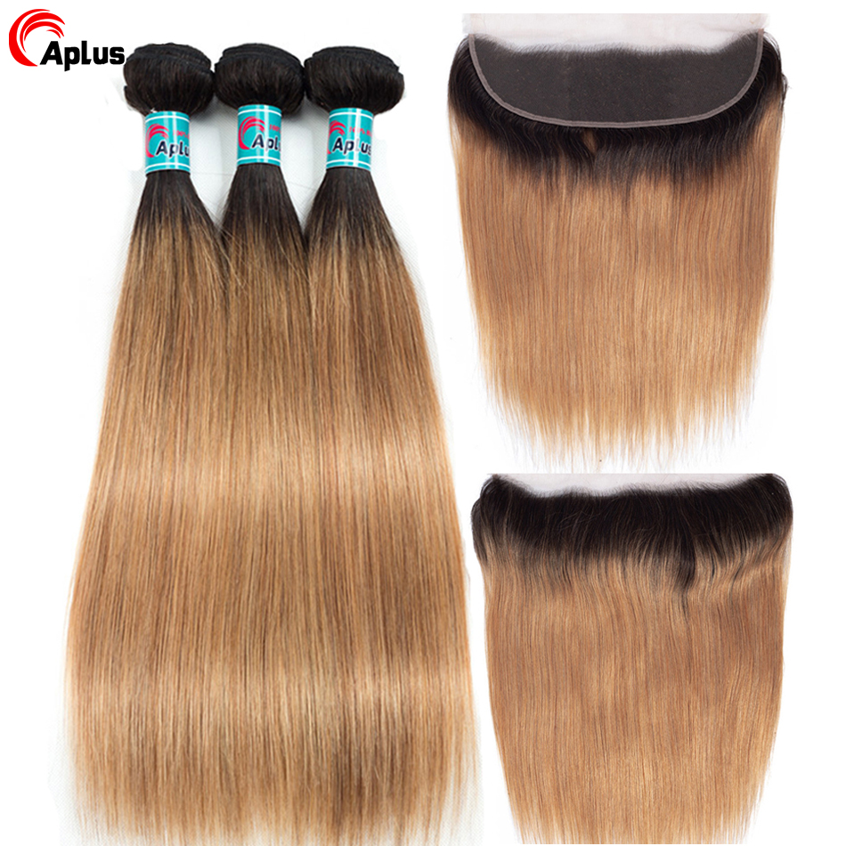 Aplus Blonde Bundles With Ear To Ear Closure 3 Bundles Ombre Bundles Human Hair With Frontal Closure T1b 27 Remy Braizilian Hair