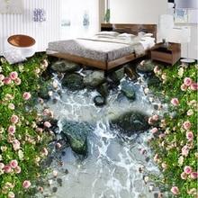 [Self-Adhesive] 3D Roses Garden River 4 Non-slip Waterproof Photo Self-Adhesive