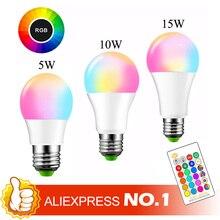 Lâmpada led mágica que muda de cor, e27, rgb, 5/10/15w, 85 265v, rgb holofote lâmpada led + controle remoto ir, lâmpadas led para casa