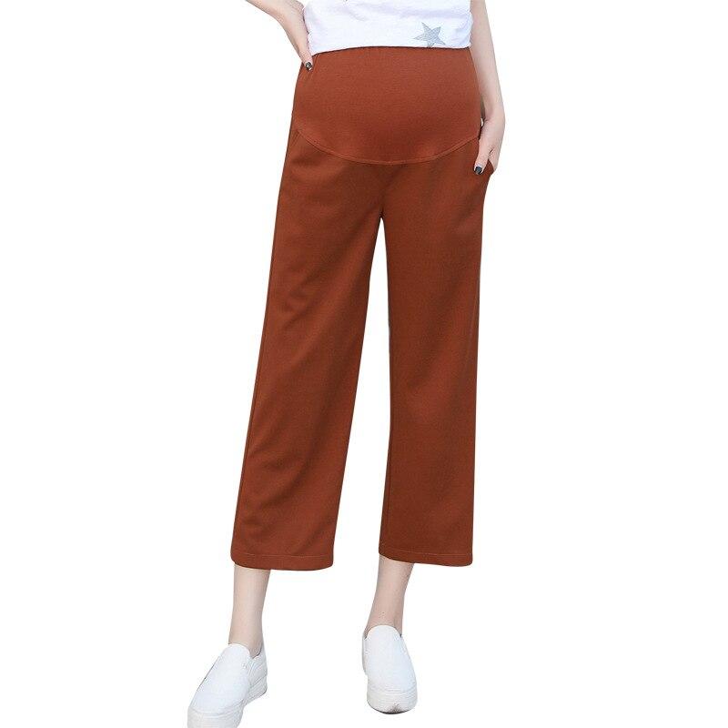 Summer Loose Pants for Pregnant Women Solid Color Wide Leg Pants Capris Fashion Casual Pockets Maternity Pants Plus Size Bottoms