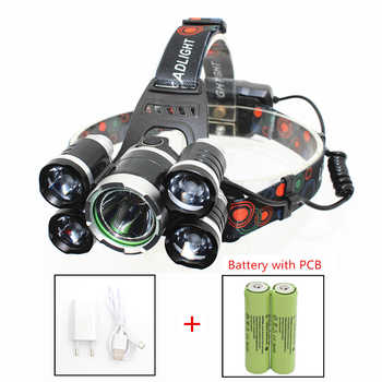 LED Headlamp 5 LED Headlight XM-L T6 + 4 XPE LED USB Rechargeable head lamp 4 mode light Bright linternas with 18650 PCB Battery - DISCOUNT ITEM  30 OFF Lights & Lighting