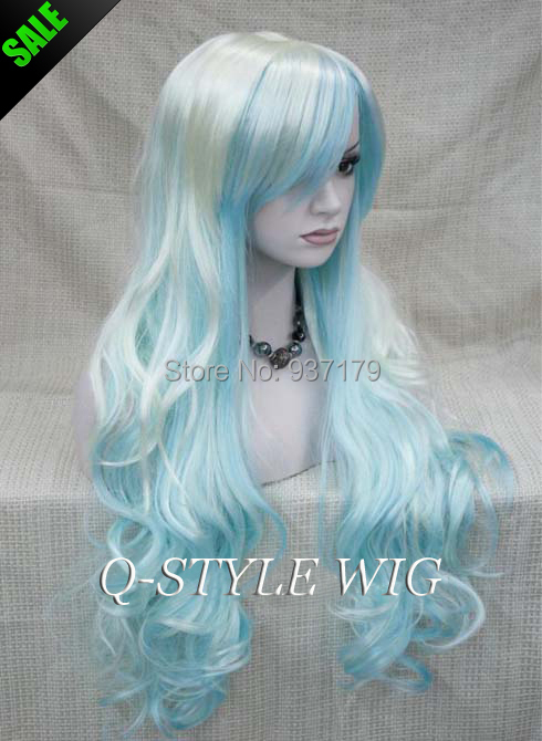 White And Light Blue Color Ombre Long Loose Wavy Hair Wig