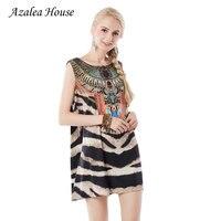 Azalea Dom 2017 Nowych Moda Czeski Beach Dress Casual Lato Kobiety Sukienki Leopard Paski Bez Rękawów Mini Suknia Vestidos