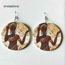 60cm Silver Africa Wood Native African Black Queen Dream Girl Earrings Bollywood Vintage Jewelry Wooden DIY Ear Accessory Gifts