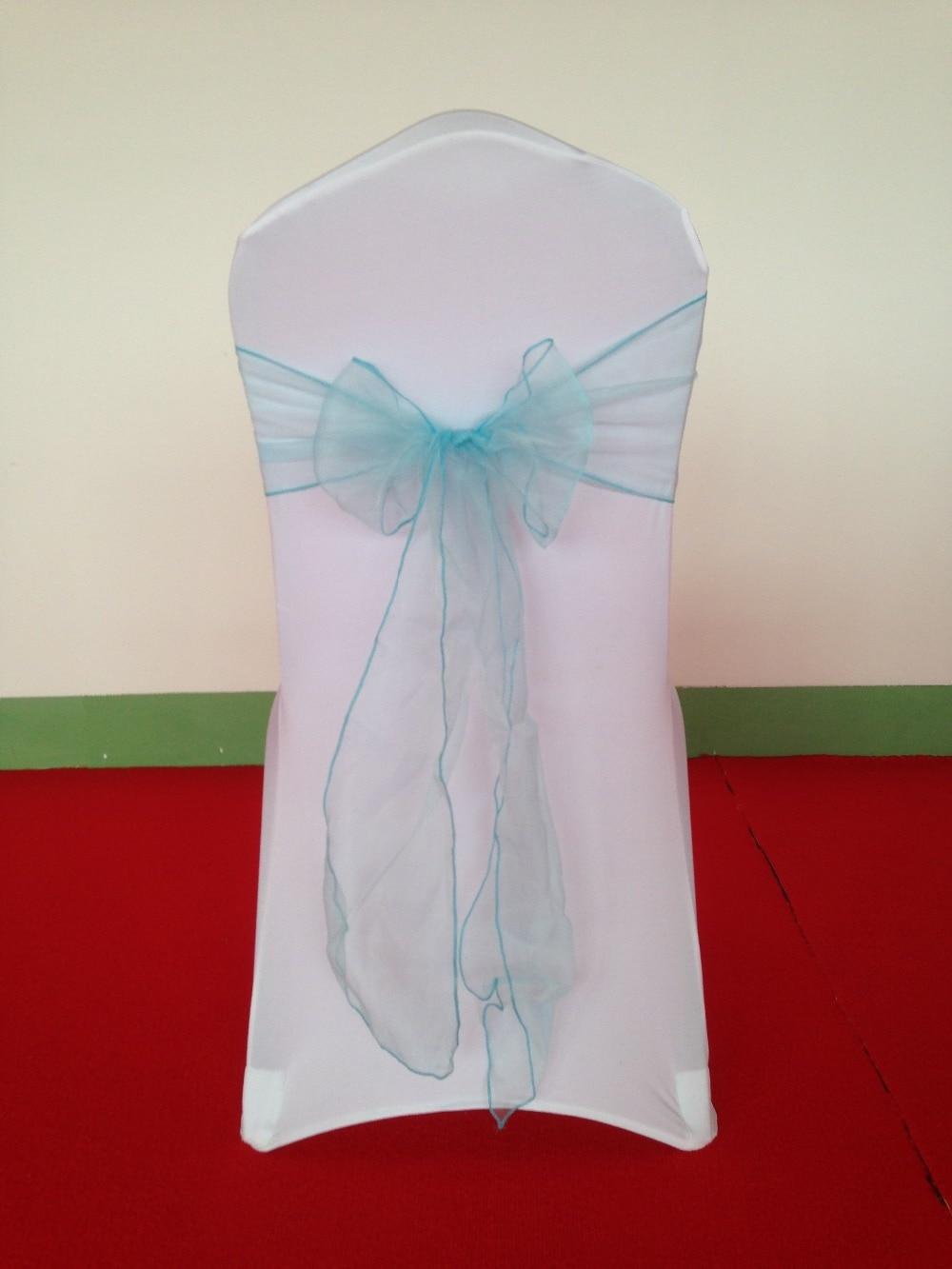 100pcs lot fancy cheap baby blue blue chair sash chair bow