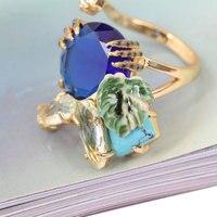 Halloween Style Blue Crystal Leaf Luxury Enamel Ring 2017 Women Fashion Charm Jewellery Anelli Donna Bague