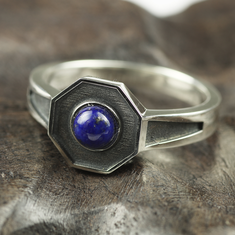 Original Design 925 Sterling Silver Rings For Men and women With Natural Lapis Lazuli Stone Hexagon Shaped Elegant Jewelry Ring laconic and elegant two pieces of leaves design rings for female