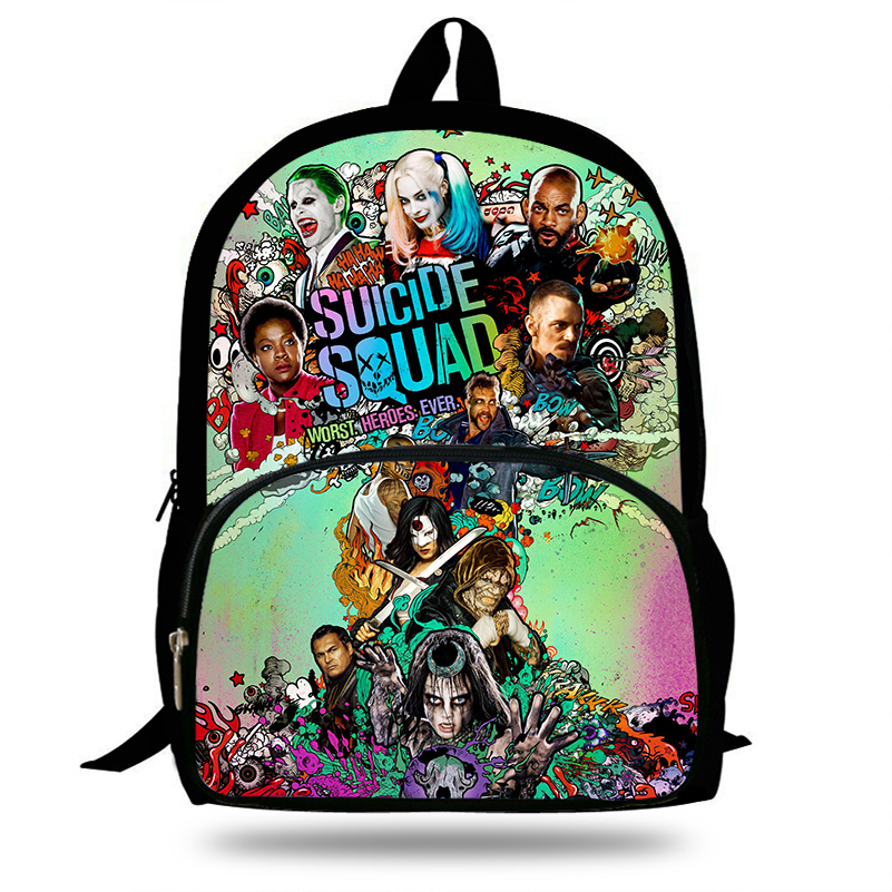 2018 Newest 16 Inch Suicide Squad Backpack Set For Children Harley Quinn Joker School Bags Boys Girls Bookbag