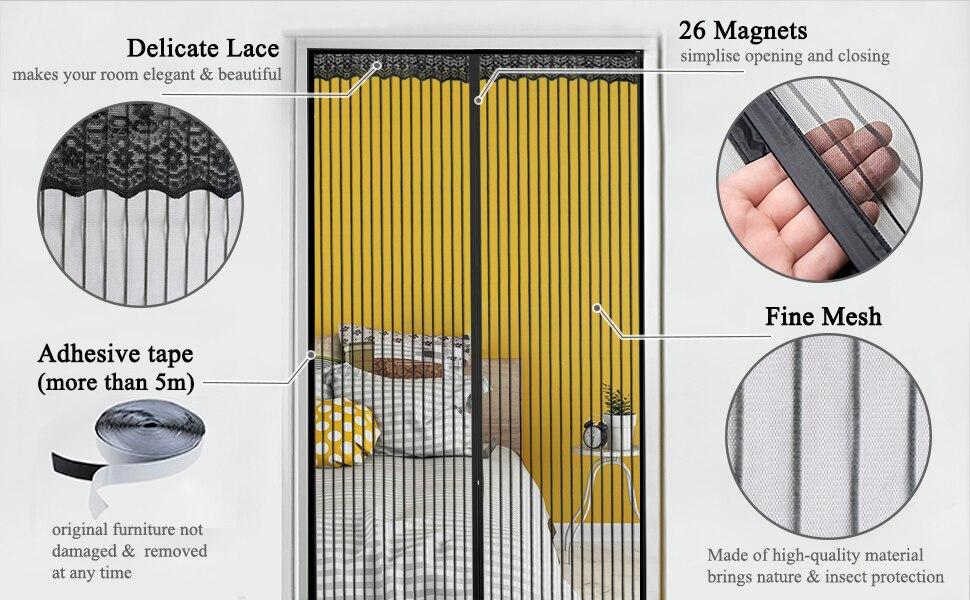 net cortinas porta magnética tela de malha