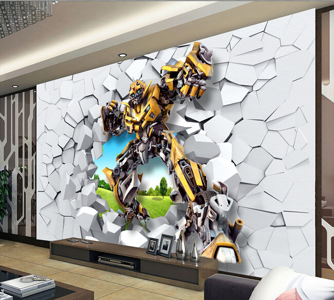 Custom children wallpaper, bumblebee robot large murals for children paper de parede living room TV wall vinyl wallpaper transformers маска bumblebee c1331
