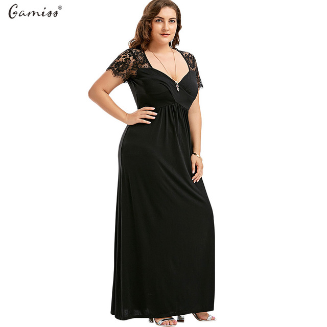 Gamiss Women Long Dress Plus Size Empire Waist Lace Panel Party Maxi ...