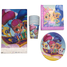 61pcs/lot Happy Birthday Party Decoration Tablecloth Shimmer Shine Theme Plates Cups Baby Shower Paper Napkins Girls Favors Maps