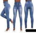 2016 Pantalones Vaqueros de Mujer de Cintura Alta Elástica Flaco Denim Lápiz Largo pantalones Más El Tamaño 40 de la Mujer Jeans Feminina camisa de Señora Gorda pantalón