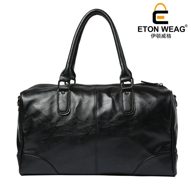 ETONWEAG Brand Cow Leather Traveling Bag Vintage Travel Bags Hand Luggage Black Zipper Duffle Bag Big Capacity Organizer Luggage 3