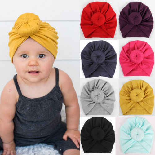 New Toddler Infant Baby Kids Cotton Turban Knot Bunny Ear Hat Head Wrap Headband