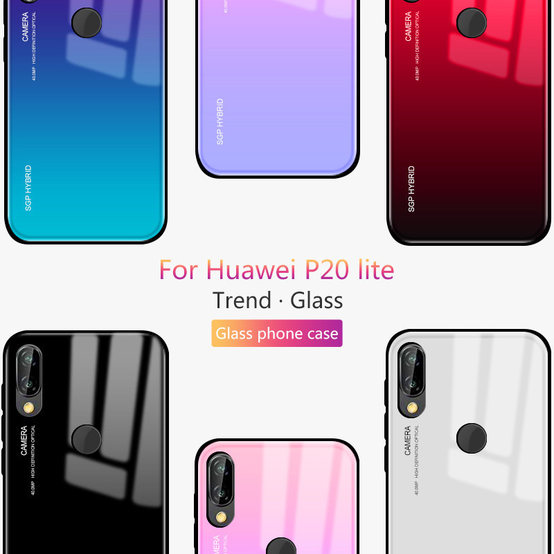 Glass Case For Huawei P20 lite P20 Pro P30 Mate 20 P10 Plus Lite Nova 3 3i Honor 8X Max 10 9 Lite Gradient Tempered Glass Cases in Half wrapped Cases from Cellphones Telecommunications