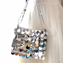 Luxury Women Bags Designer Silver Metal Sequins Chain Woven Bag  Evening Bags Clutch Female Travel Holiday Shoulder Bag Handbag