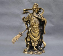 10China Old Warrior Soldier Guan Gong Dragon Sword Bronze God of wealth Statue