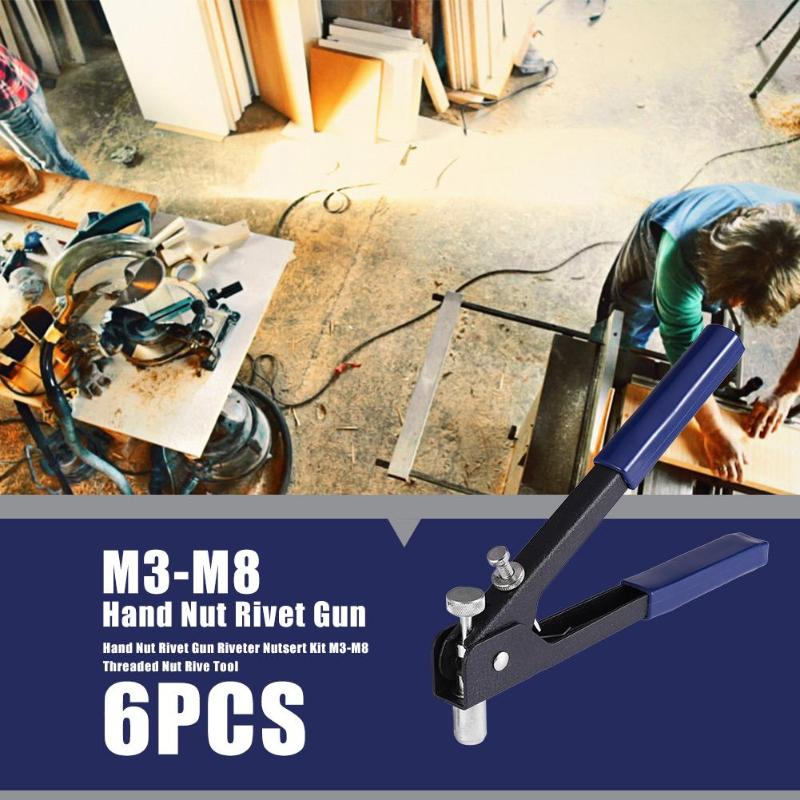 6pcs Hand Nut Rivet Gun Riveter Nutsert Kit M3-M8 Threaded Nut Rive Tool Steel Riveter Guns For Home Repair