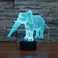 Criativo 3D Elefante luz Night Light 7 Alterar Cor Acrílico Candeeiro de Mesa USB Lâmpada Quarto luz LED como Presente para DecorationIY803454