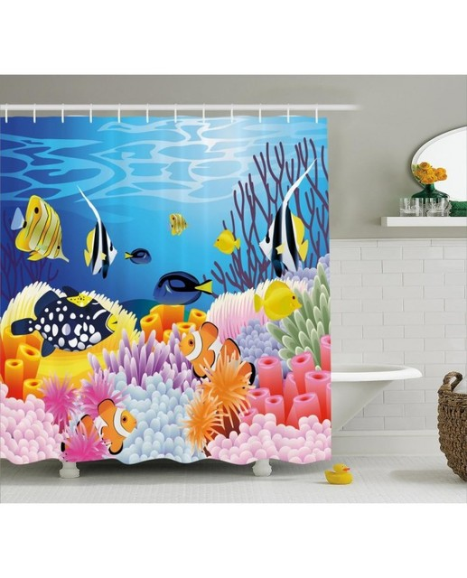 Ocean Life Shower Curtain Fish Coral Reefs Print For BathroomWaterproof And Fabric Kids