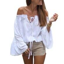 Off Shoulder Female Blouses Sexy Slash Neck Ruffles Women Tops Tees White Shirts Blusas Feminina