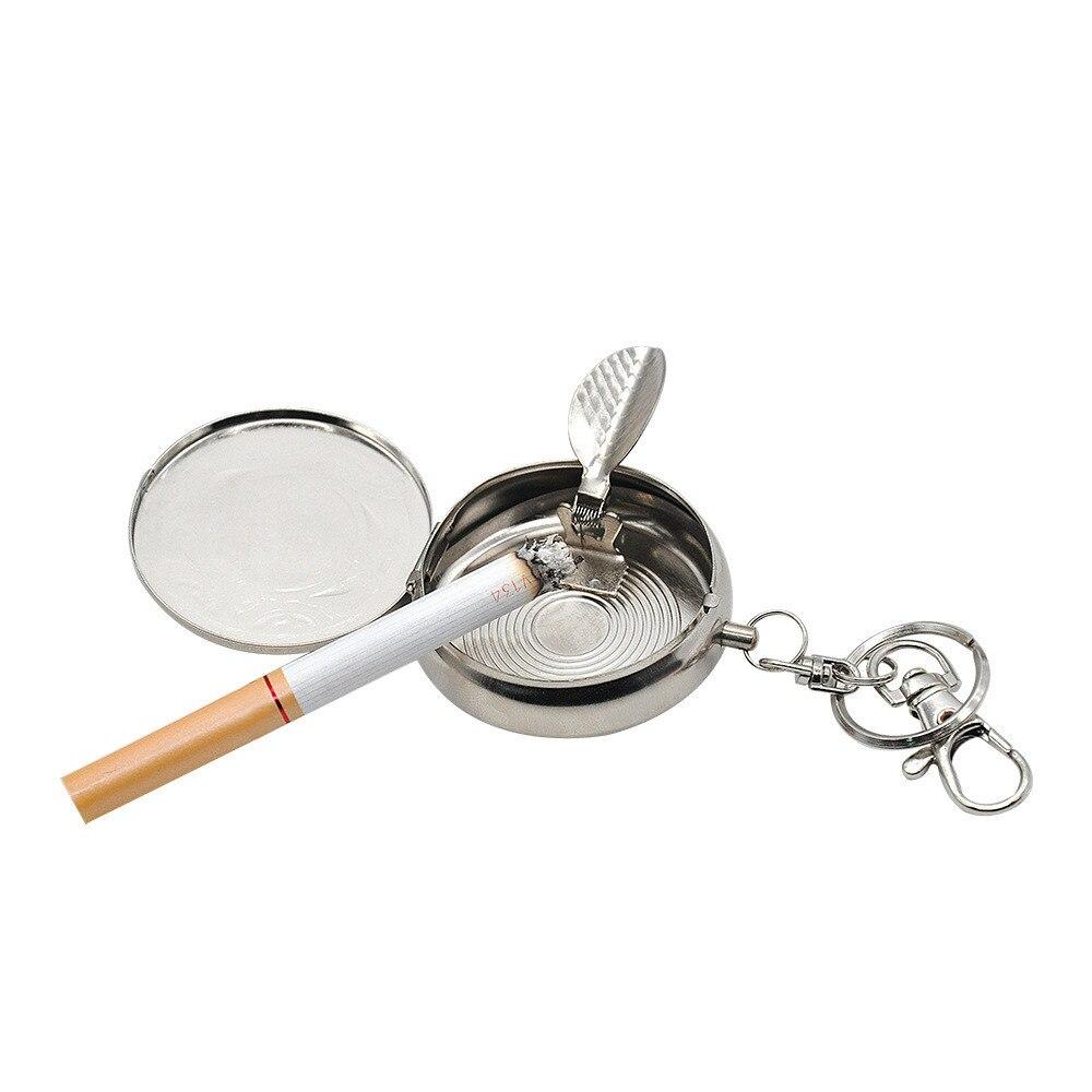 Car Auto Round Cigarette Keychain Portable Ashtrays Pocket Ashtray With Keychain Vehicle Car-styling p# dropship