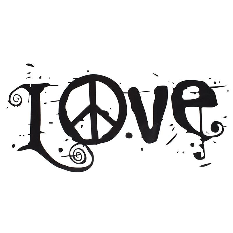 1 Pcs Hitam Huruf Kata Cinta Tanda Perdamaian Stiker Dinding Bahan PVC Dapat Dilepas Dekorasi Rumah