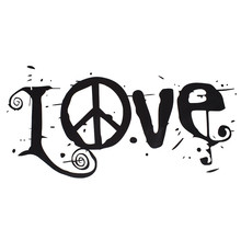 1pcs Black Letter Word Love Peace Sign Wall Sticker PVC Material Removable Home Decor Art DIY Wallpapers