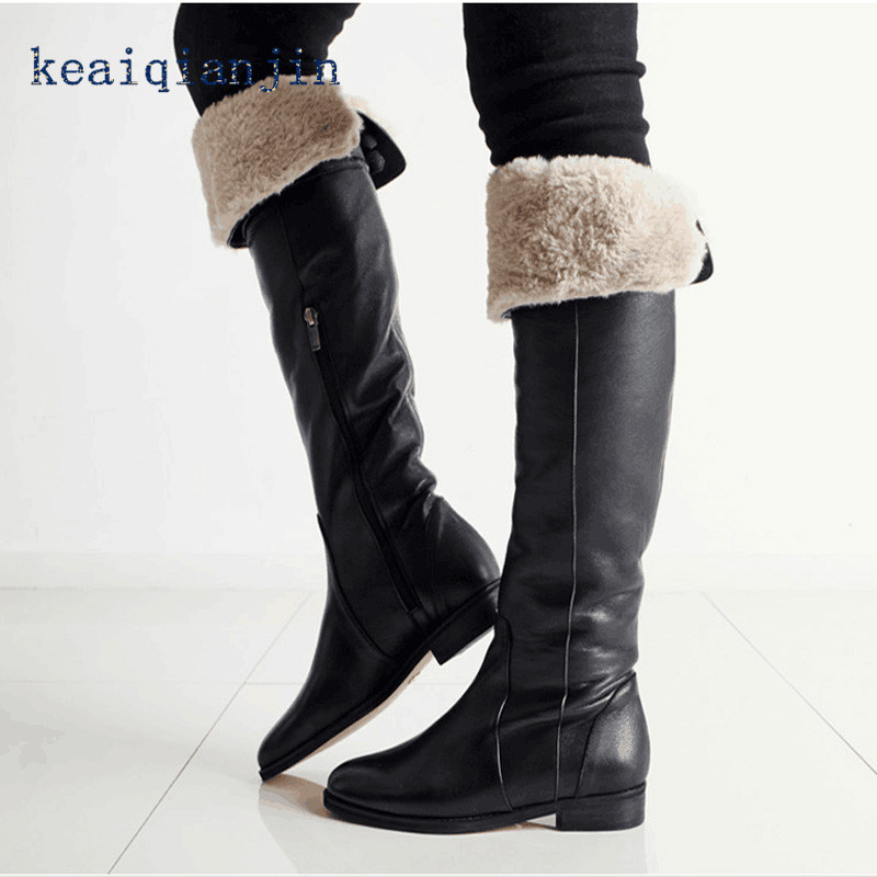 ФОТО High Quality Genuine Leather High Boots Large Size 34CM-42CM Woman Suede Boots Black Plush Thick Heel Winter Knee-High Boots