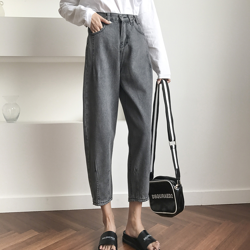 JUJULAND Winter Vintage Ladies High Waist Jeans Woman Pencil Casual Denim Trousers Pants Zipper Mom Boyfriend Jeans for Women