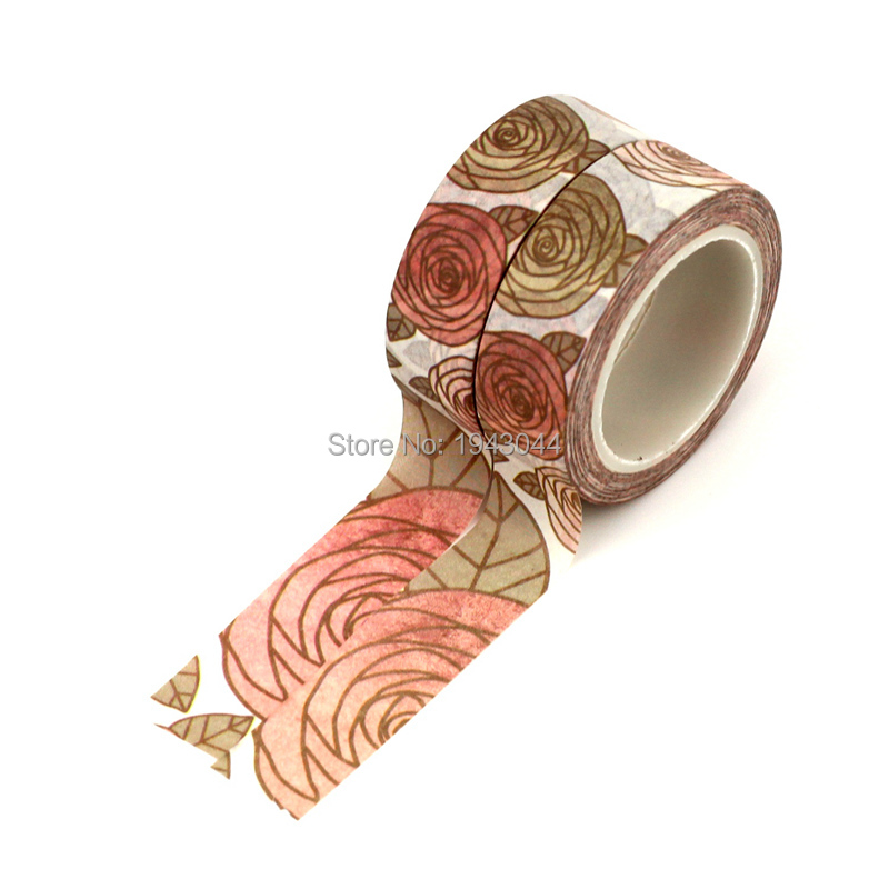 2PCS/lot DIY Japanese Paper Washi Tapes Floral Kawaii Masking Tape Adhesive Tapes Stickers Decorative Stationery Tape 1.5cm*10m