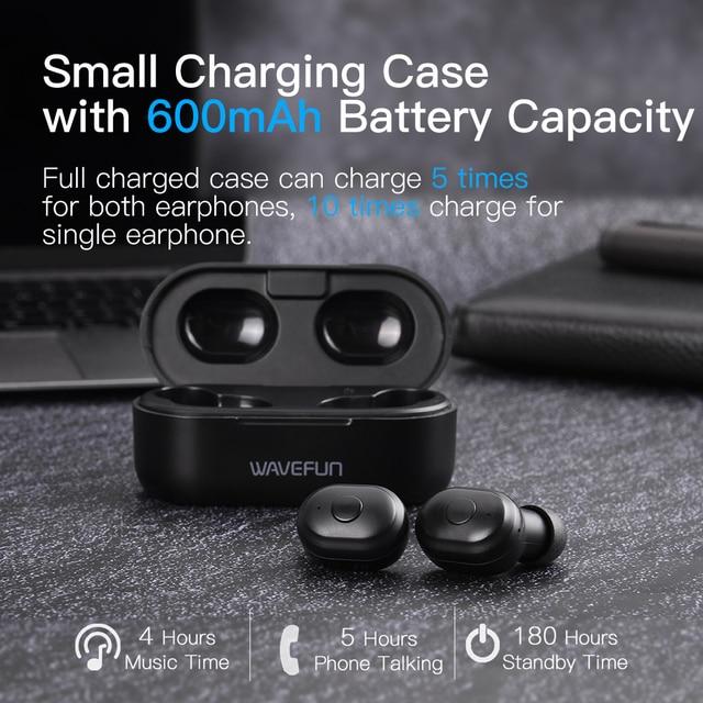 Wavefun X-Pods 2L AAC&SBC Bluetooth V5.0 TWS Earphone True Wireless Headphones Stereo Earbuds with Mic Binaural Call Headsets 4