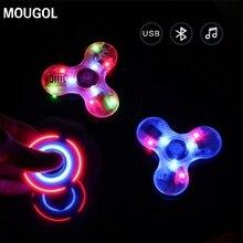 MOUGOLอยู่ไม่สุขปินเนอร์+บลูทูธลำโพงLEDของเล่นTriอยู่ไม่สุขEDCมือปั่นต่อต้านความเครียดเรืองแสงสำหรับผู้ใหญ่เด็กเพลงplyer