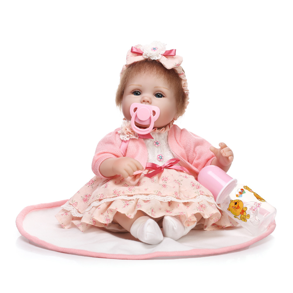 Nicery 16-18inch 40-45cm Bebe Doll Reborn Soft Silicone Boy Girl Toy Reborn Baby Doll Gift for Children Red Girl Flowers Lovely [mmmaww] christmas costume clothes for 18 45cm american girl doll santa sets with hat for alexander doll baby girl gift toy