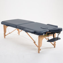 70cm Wide 2 Fold Wood Massage Table Bed W/Carry Case Salon Furniture Folding Portable Thai Body Spa Massage Table Tattoo Bed(China)