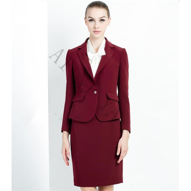 Винно красная юбка костюм для женщин офисные женские костюмы из 2 предметов Высококачественная официальная рабочая одежда элегантная деловая Женская Офисная форма