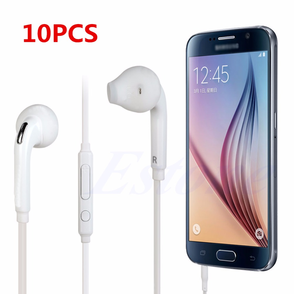 10Pcs Headset In-Ear Headphone Earphone w/Mic For Samsung Galaxy S6 Edge S5 S4 i9800 Wholesale s6 3 5mm in ear earphones headset with mic volume control remote control for samsung galaxy s5 s4 s7 s6 note 5 4 3 xiaomi 2