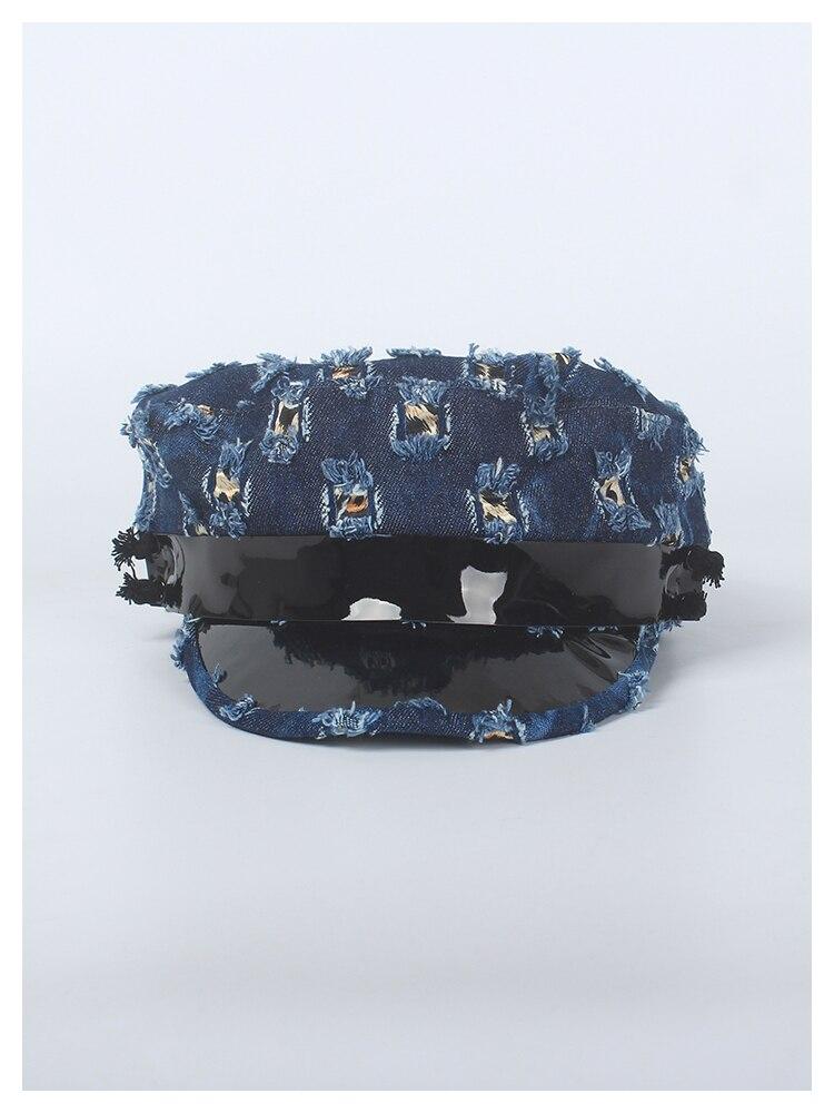 ROSELUOSI otoño invierno nuevo mujeres Denim sombreros militares del ... 5e434851719
