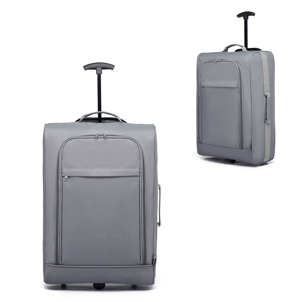 KONO Shell Suitcase Travel-Bags Hand-Luggage Carry-On 2-Wheels 20inch Light-Weight Oxford