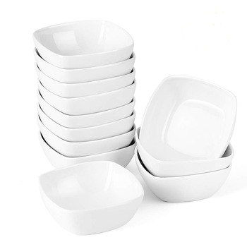 MALACASA 12-częściowy 4 #8222 Ramekins kość słoniowa porcelana kuchnia krem naczynia deserowe owoce miska na przekąski talerz śniadaniowy (zestaw 12 sztuk) tanie i dobre opinie CN (pochodzenie) Plac ceramic Stałe RAMEKIN DISH-008