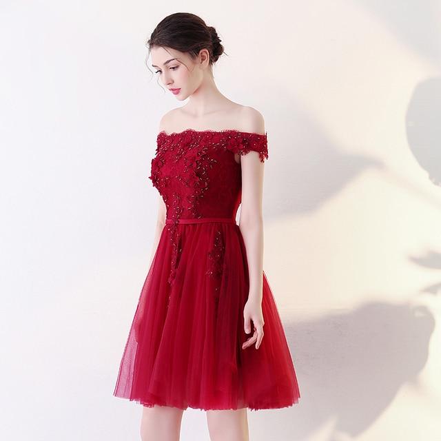 90ed446199 2017 new arrival stock plus size high school 8 grade college graduation  dresses beautiful elegant short dark red sexy lace hot