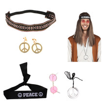 Satu Set Perdamaian Hippie Gaun Mewah Hippy Kostum Headband Kacamata Hitam Anting-Anting Kalung Kit untuk Halloween Natal Fancy Dress(China)
