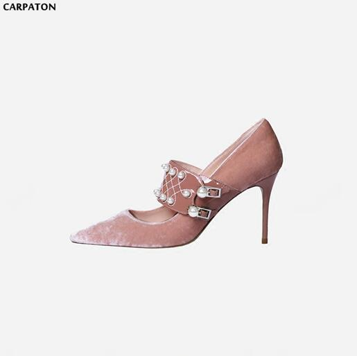 Carpaton 2018 New Fashion Silk Flock Leather Unique Pearl shoes One-Button Style Classic Pointed Toe Thin High Heels Women Shoes the new puma womens shoes classic high classic star high tongue series white leather laser badminton shoes