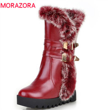 MORAZORA 2020 new arrival mid calf boots women high qulity pu winter snow boots keep warm platform shoes woman big size 34 43