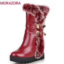 MORAZORA Botas de media caña para mujer, botas de nieve de poliuretano para invierno de alta calidad, zapatos de plataforma cálidos, 34 43 talla grande, 2020
