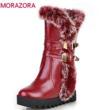 Morazora 2020 Mới Xuất Hiện Giữa Bắp Chân Giày Nữ Chất Lượng Cao PU Mùa Đông Ủng Giữ Ấm Giày Đế Người Phụ Nữ Lớn size 34 43