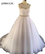 2019 New Arrival White Wedding dress Ball Gown Tulle Beaded For Court Train vestido de noiva robe marie