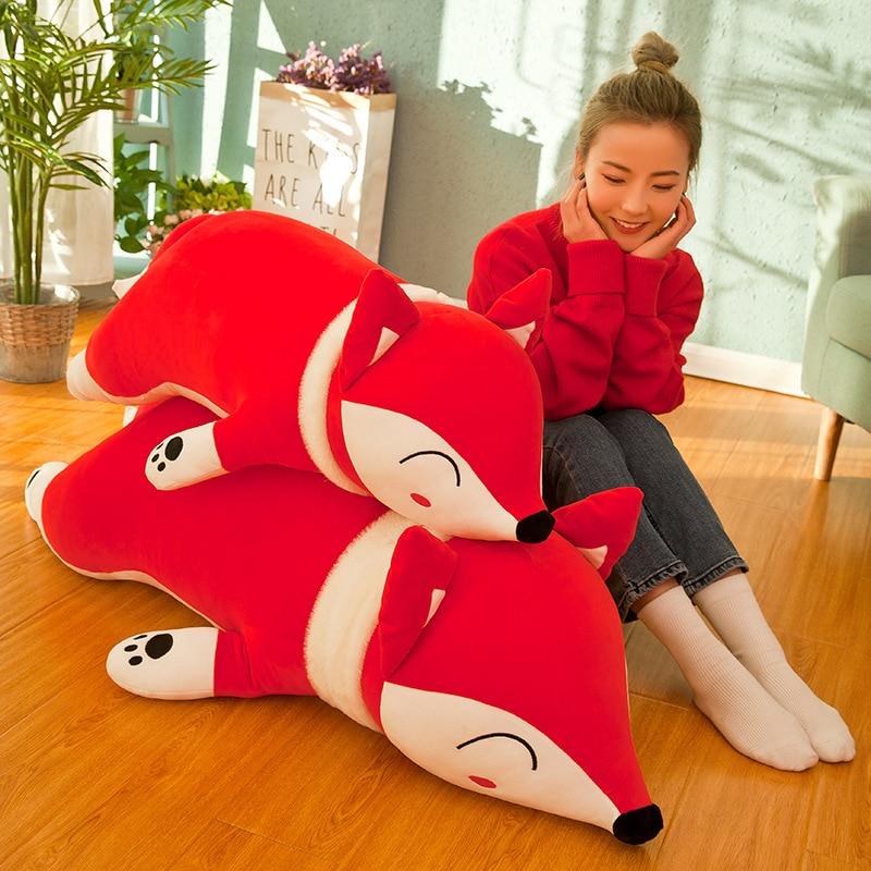 Large Down Cotton Lying Fox Doll Creative Fox Children Pillow Accompany Sleeping Doll Girl Heart Birthday Gift Toys Plush Toy